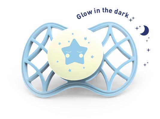 Fyziologický dudlík Cool 0m+ svítící ve tmě, Aquamarine