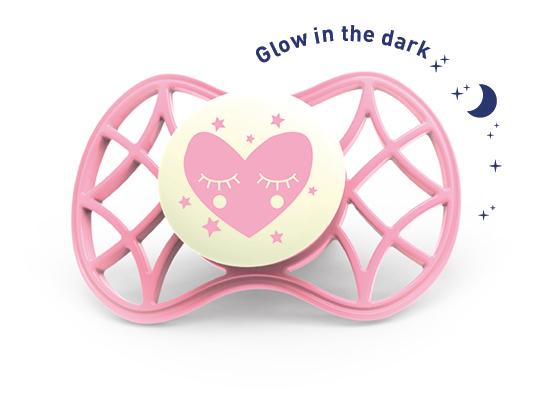 Fyziologický dudlík Cool 0m+ svítící ve tmě, Cashmere rose