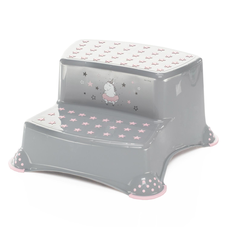 """Dvojstupínek k WC/umyvadlu """"Unicorn"""", Grey/Pink"""