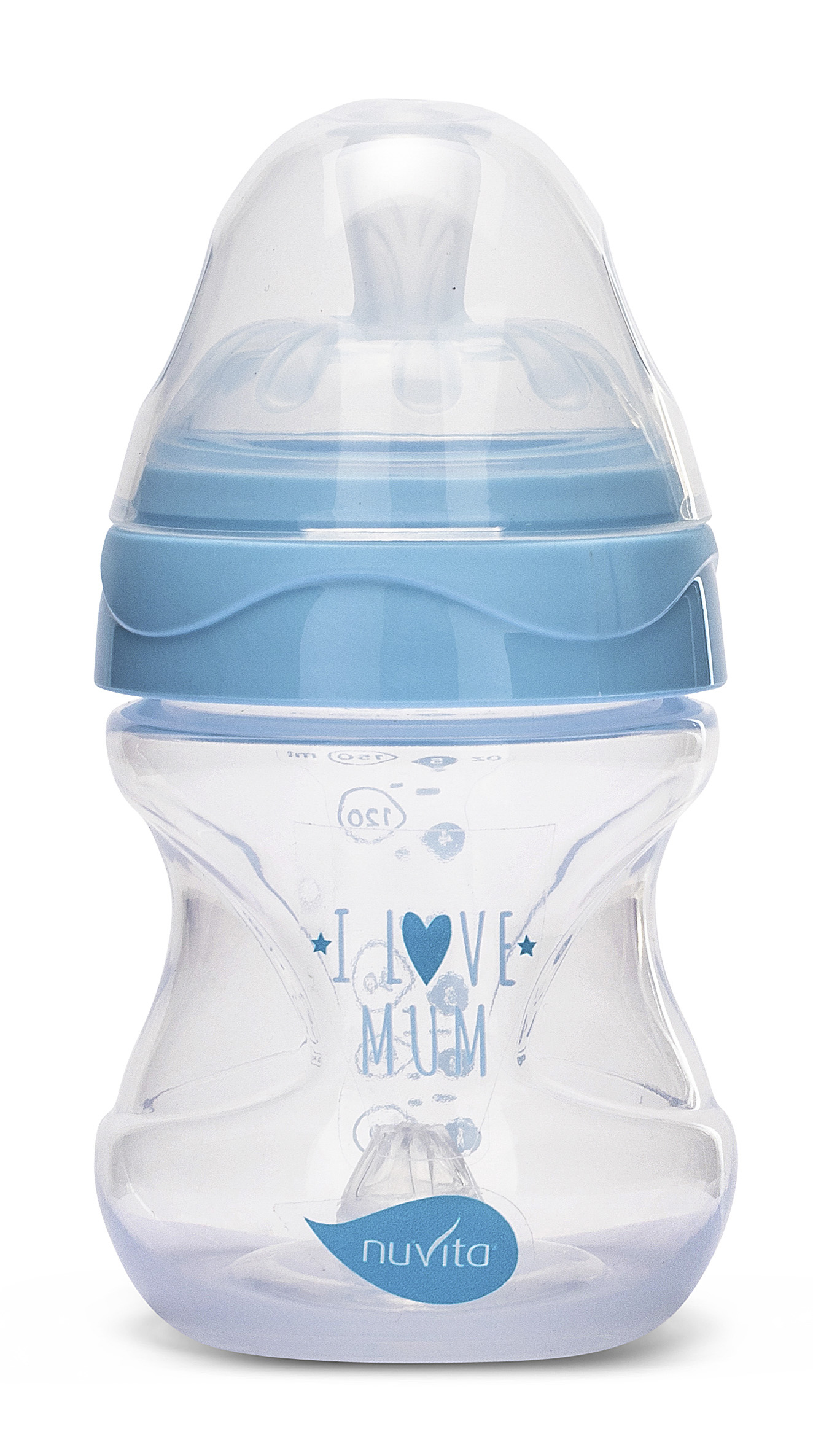 Fľaštička Mimic 150ml, Transparent blue