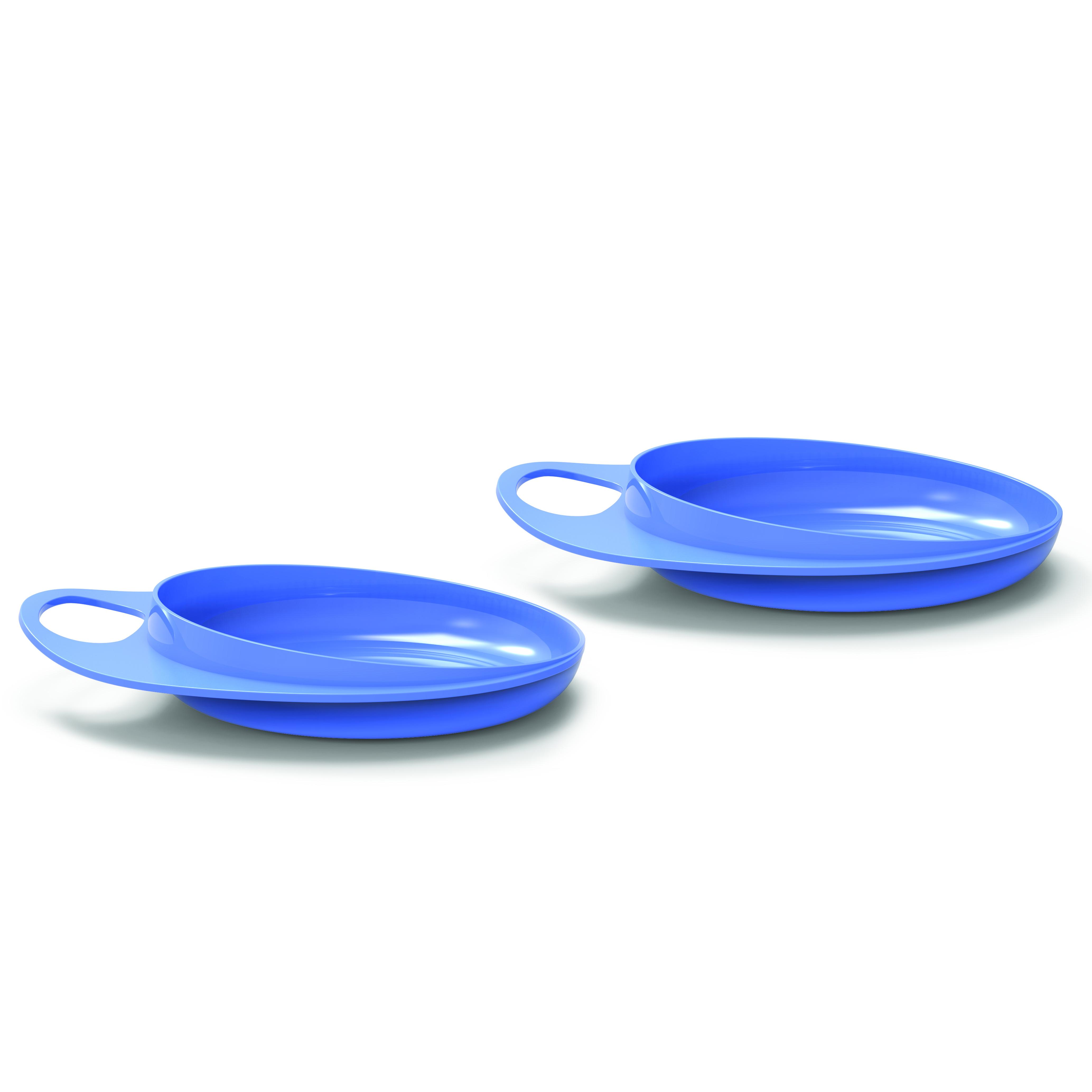 Talíře se zvýšeným okrajem 2ks, Pastel blue