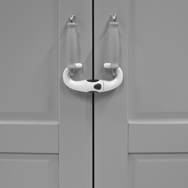 Zámek na úchyty skříněk U, white/grey